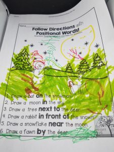winter language worksheets preschool